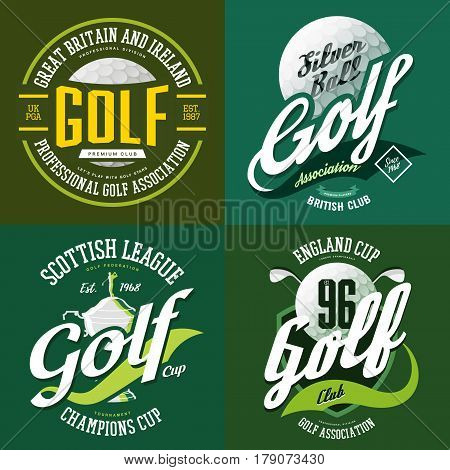 Golf ball and trophy cup or bowl for champions or tournaments. T-shirt print sportswear design or cloth logo for golfer association or sport club. England or scottish sport advertising, team label