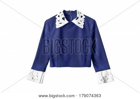 Blue elegant blouse with white collar and cuffs isolated over white
