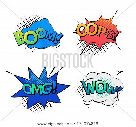 Cartoon bubble comic speech exclamation and replicas. Sound onomatopoeia for explosion like boom, oops or ops and wow expression, wow. Message and surprise and wonder, humour book theme