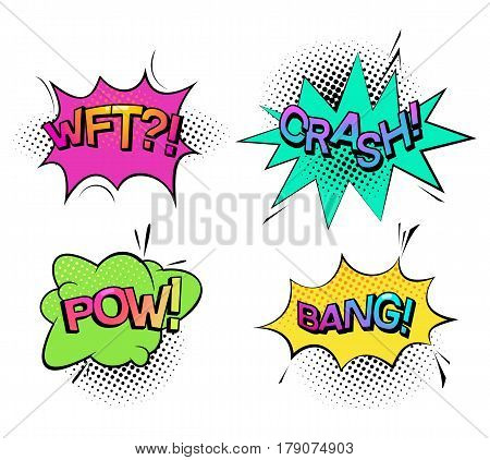 Comic bubble speech for explosion cloud saying bang, punch sound pow and wonder or confusion onomatopoeia sound wtf, crash effect. Message and funny book, sound effects for communication theme