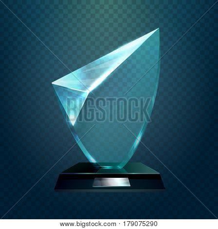 Transparent glassware trophy, glass hexadecimal or rhombus cup, award for achievement or crystal shiny prize. Competition and championship, sport sign and champion badge, winner theme