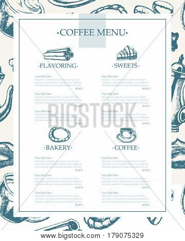 Delicious Coffee - monochromatic vector hand drawn composite template menu with copyspace. Realistic marshmallow, cup, cookie, grinder, teapot, cake, sugar, coffee beans, cinnamon.