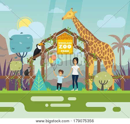 Zoo entrance outdoor view with cartoon animals like lemur and giraffe toucan or parrot, woman or mother and child or boy with balloons, gate landscape and park wall, arch. Zoology and wildlife theme