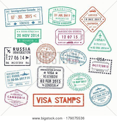 Set of isolated visa passport stamps of arriving to toronto canada or united kingdom, UK or Milan city in Italy, Russia or United states, USA or France. Tourism sign, arrival document, airport theme