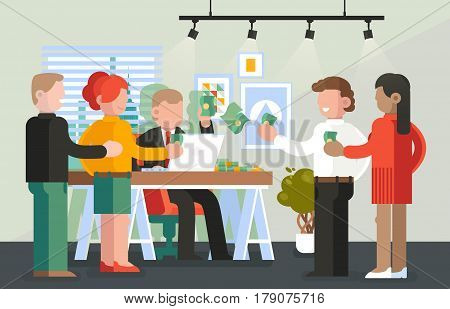 People at payday with banknotes from boss, queue of workers or businessman, businesswoman or managers with dollars in hands. Man paying salary. Deposit or bank, business or employee theme
