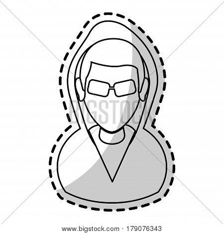 suspicious looking man icon image criminal vector illustration design