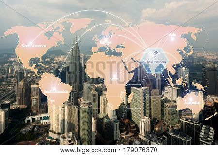 Map global logistics partnership connection for Logistics Import Export background Global logistics network transportation maritime shipping