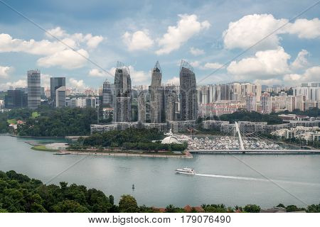 Aerial view of caribbean at keppel bay in Singapore . It's luxury residential in Singapore City