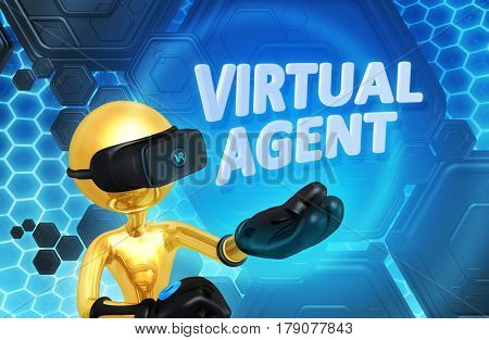 Virtual Agent The Original 3D Character Illustration Wearing Virtual Reality Goggles