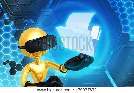 The Original 3D Character Illustration Wearing Virtual Reality Goggles With A File