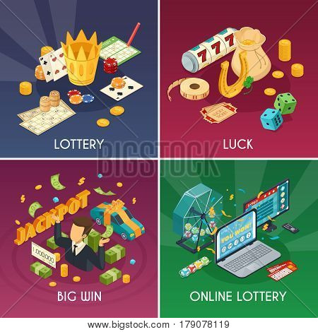 Lottery concept icons set with luck and win symbols isometric isolated vector illustration