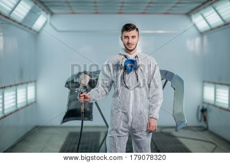 Repair and painting car car mechanic worker