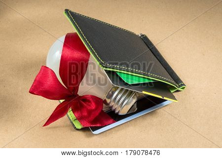 Black wallet with credit cards, green inside. Bulb whith red ribbon in the wallet. Idea for business