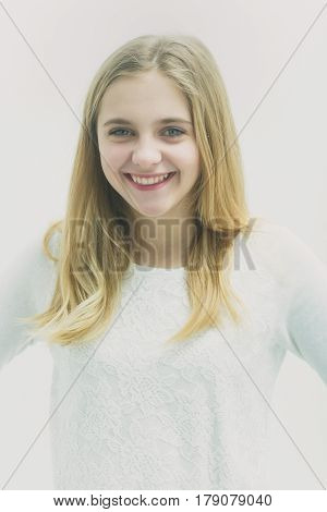 Pretty Happy Young Girl With Blond Hair