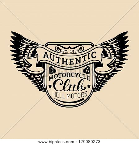 Biker logo with wings illustration. MC sign. Custom garage label. Vector vintage motorcycle store emblem. Hand drawn classic chopper shield in ink style.