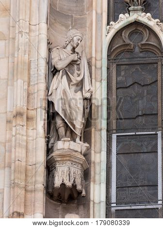 Statue Of Man In Toga Of Cathedral Of Milan