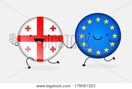 Icon flag of Georgia and the European Union. Two cartoon flags hold together by the hand. Messedge cooperation, friendship, union, visa-free regime. Vector illustration isolated from background