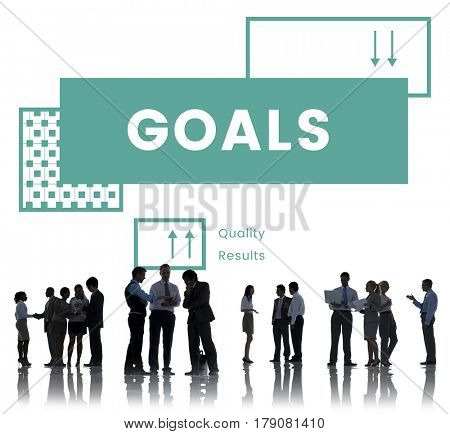 Group of business people brainstorming for the goals target