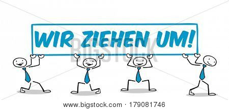 Many business people holding sign with german slogan