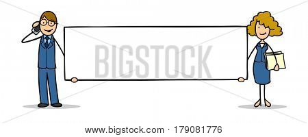 Cartoon of two business people with blank sign for advertising