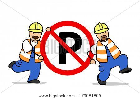 Two cartoon man carry no-parking-zone road sign