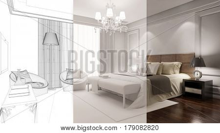 Hotel bedroom planning stages in CAD draft from room planner (3D Rendering)