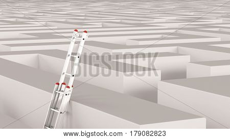 Ladder in maze as solution concept for way out or success strategy idea (3D Rendering)