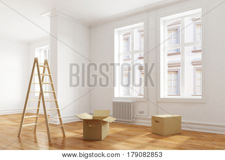 Moving boxes in empty room as relocation or forwarding agency concept (3D Rendering)