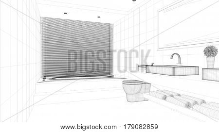 Arquitectural grid CAD bathroom draft for bath planning (3D Rendering)