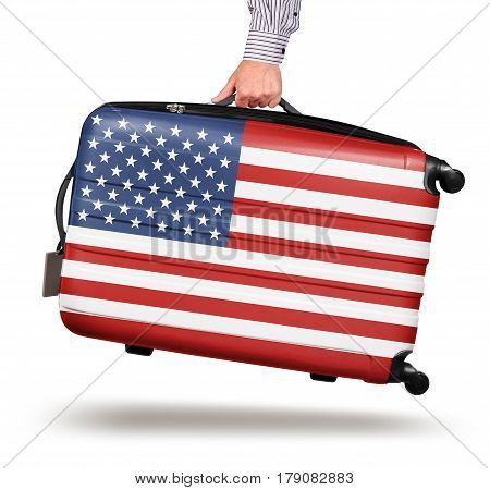 Hand holding modern suitcase United States flag design isolated on white travel concept
