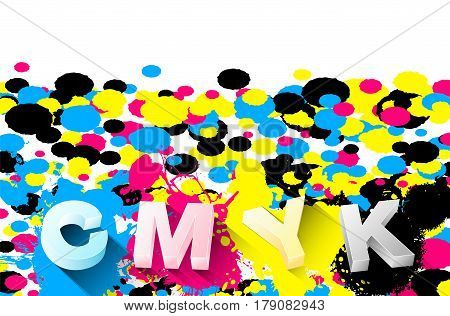 3D Letters And Cmyk Splashes On White Background