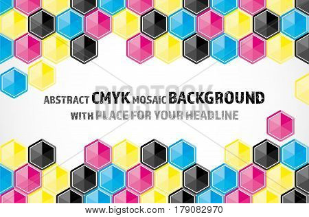 Mosaic Background From Cmyk Colored Hexagons