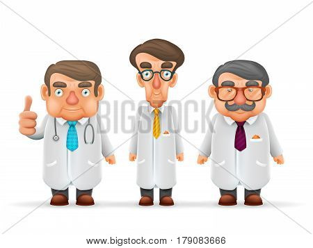 Doctors Team Experienced Fat Thin Tall Mustache Glasses Stethoscope Realistic Cartoon Character Design Isolated Vector Illustration