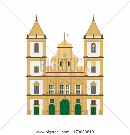 San Francisco Church Salvador de Bahia Brazil. Isolated on white background vector illustration.