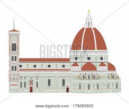 Santa Maria dei Fiore Florence Italy. Isolated on white background vector illustration.