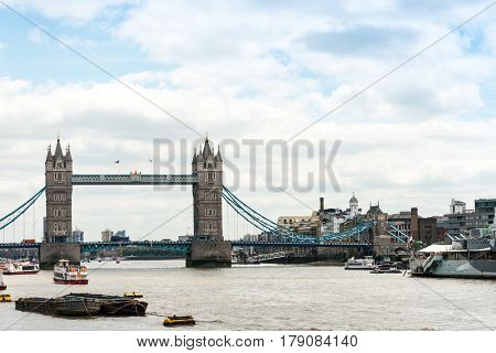 LONDON, UNITED KINGDOM - June 21, 2016. Street view of London Bridge. London, United Kingdom