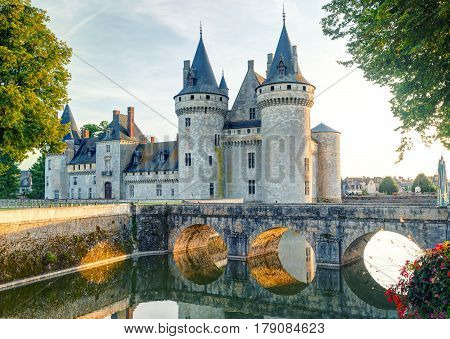 The chateau of Sully-sur-Loire France. This castle is located in the Loire Valley dates from the 14th century and is a prime example of medieval fortress.