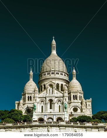 The Basilica of the Sacred Heart of Jesus (Basilique du Sacre-Coeur) on Montmartre Hill, Paris, France