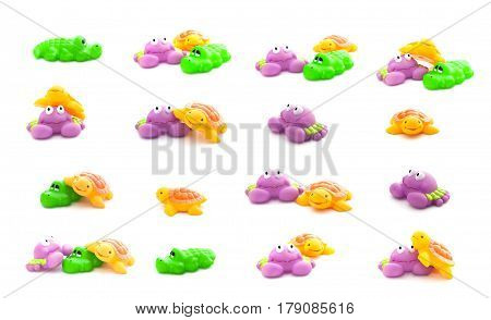 Collage Of Bath Toys Crab, Crocodile And Turtle Isolated On A White Background