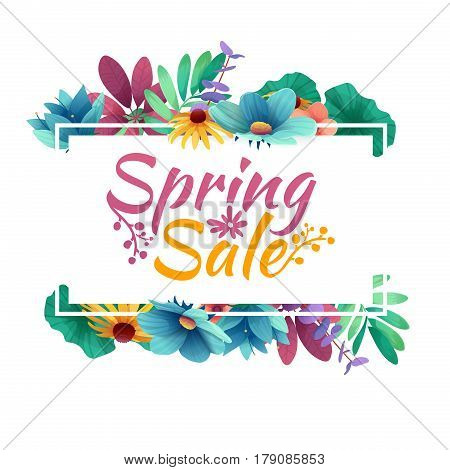 Design banner with spring sale logo. Discount card for spring season with white frame and herb. Promotion offer with spring plants, leaves and flowers decoration