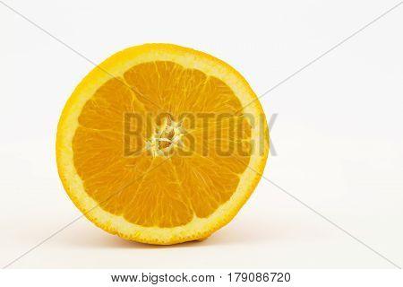 Citrus sliced in half on white background