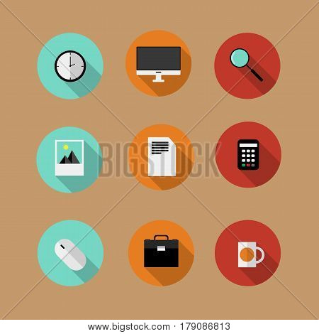 Set of flat vector bussines icons office concept wit shadows.