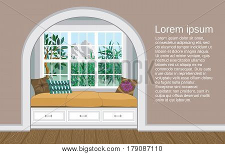 Place to sit by the window with a beautiful view of the mountains. Light interior in a classic, modern and provencial style.  Vector illustration of a living room with large windows and space for text