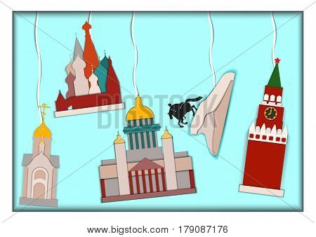 Paper applique style illustration.Card with application of Basils Cathedral, Kremlin, Isaac's Cathedral, monument to Peter the Great The copper rider and Chapel of St. Nicholas the Wonderworker.Postcard