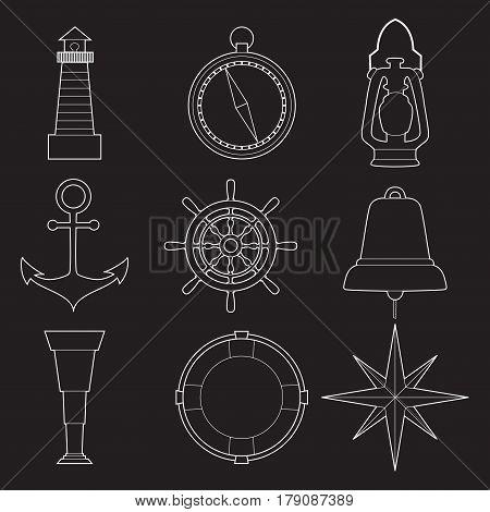 Set of simple nautical line art  symbols on white background vector illustration