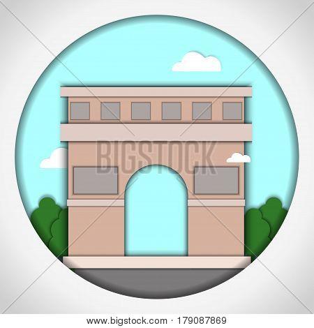 Paper applique style Card with application of Triumphal Arch, Paris, France. Postcard.