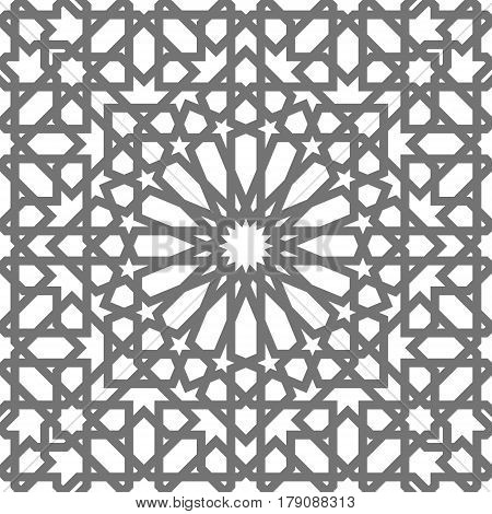 Islamic seamless vector pattern. Geometric ornaments based on traditional arabic art. Oriental muslim mosaic. Turkish Arabian Moroccan design on a white background. Mosque decoration element.