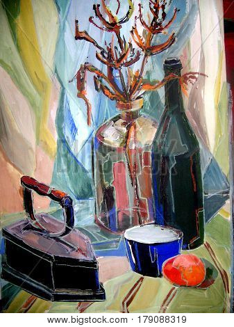 still life gouache color painting the bottle glass and dried flowers