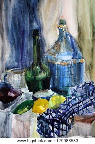 still life gouache color painting the kettle dinnerware blue, bottles, glass
