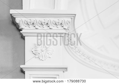 Columnd With Stucco Relief Molding, White Interior